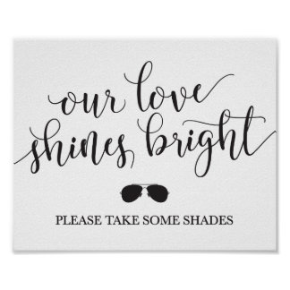 Sunglasses Favors Sign - Our Love Shines Bright