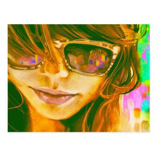 Sunglasses Girl Art Postcard