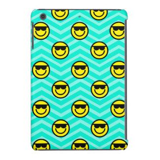 Sunglasses Happy Face on Aqua Green Chevron iPad Mini Retina Covers
