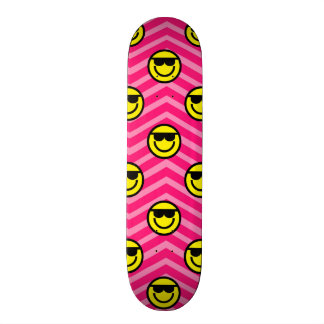 Sunglasses Happy Face on Pink Chevron Pattern Skateboard