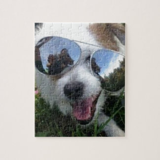Sunglasses on dog BRIGHT FUTURE for ME Jigsaw Puzzle