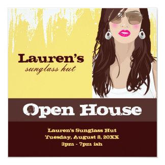 Sunglasses Open House Party Invite Fashion Yellow