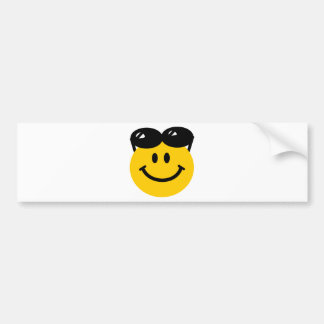 Sunglasses perched on top of head smiley face bumper sticker