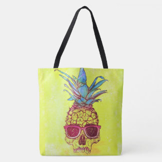 sunglasses skull pineapple all over print tote bag