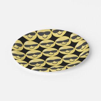 Sunglasses Smiley Emoji 7 Inch Paper Plate