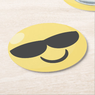 Sunglasses Smiley Emoji Round Paper Coaster