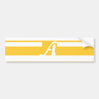 Sunglow Yellow and White Random Stripes Monogram Bumper Stickers
