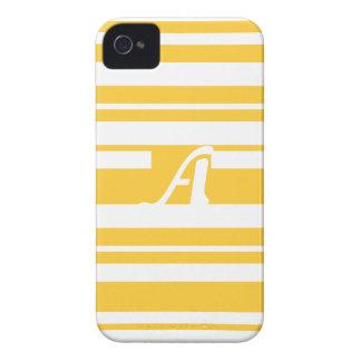 Sunglow Yellow and White Random Stripes Monogram iPhone 4 Covers