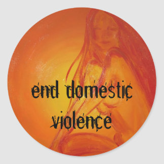 sungoddesss, end domestic violence classic round sticker
