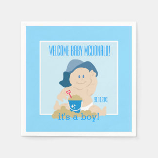 Sunhat Beach Baby Napkins / Blue Hat / Boy Disposable Napkins