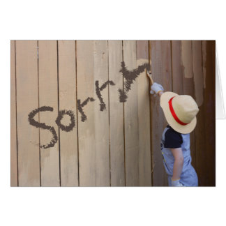 Sunhat Boy Painting Fence Sorry Message Card