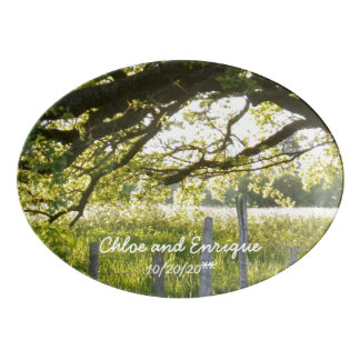 Sunlight And Trees Personalized Wedding Porcelain Serving Platter