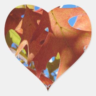Sunlight Through Autumn Leaves Heart Sticker