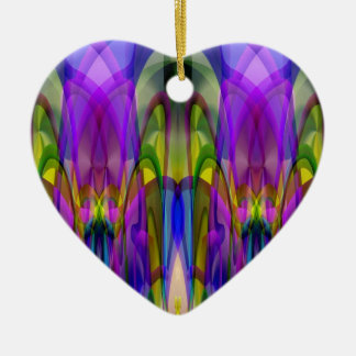 Sunlight Through the Clerestory Stained-Glass Look Ceramic Heart Decoration