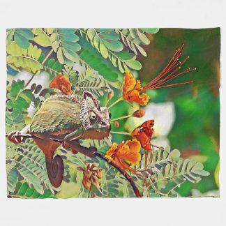 Sunlit Chameleon Fleece Blanket