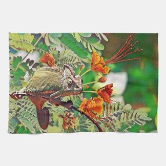 Sunlit Chameleon Tea Towel