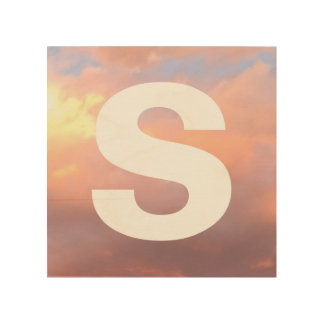 Sunlit Clouds in Blue Sky and Letter Wood Wall Art