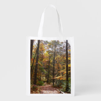 Sunlit Fall Trail in Laurel Hill State Park Reusable Grocery Bag