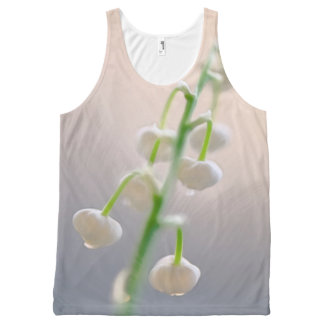 Sunlit Lily of the Valley Flower Sketch All-Over Print Singlet