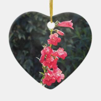 Sunlit Pink Penstemon Flower I Love You Ceramic Heart Decoration