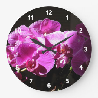Sunlit Purple Orchids Clock