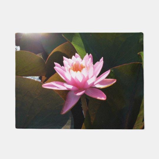 Sunlit Waterlily Pink Floral Water Garden Doormat