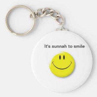 Sunnah smile basic round button key ring