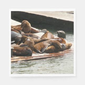 Sunning Sea Lions in San Francisco Disposable Serviette