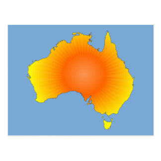 Sunny Australia Map Postcard