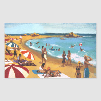 Sunny beach in Catalonia Rectangular Sticker