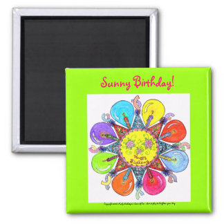 "Sunny Birthday  - 2"" square magnet (lime green)"