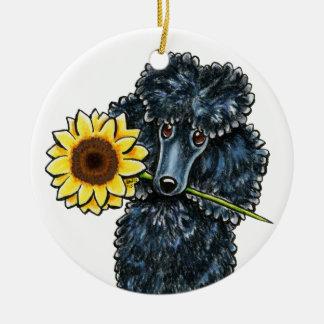 Sunny Black Miniature Poodle Personalized Ceramic Ornament