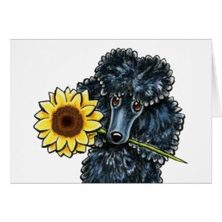 Sunny Black Miniature Poodle Yellow Inside Card