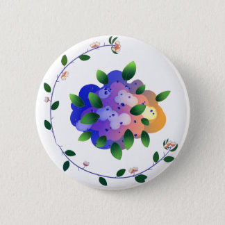 Sunny Blueberries Button