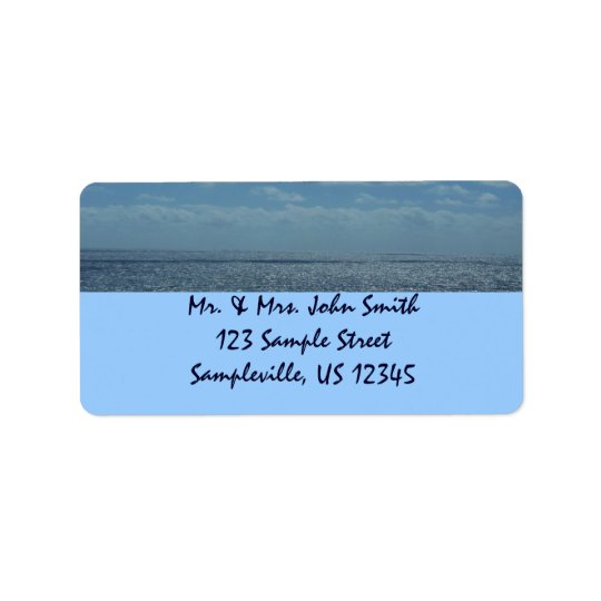Sunny Caribbean Sea Blue Ocean Address Label