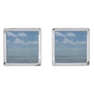 Sunny Caribbean Sea Blue Ocean Silver Finish Cufflinks