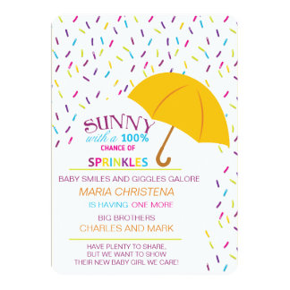 Sunny Chance Of Sprinkles Baby Shower Invitation