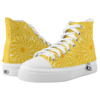 Sunny cheerful yellow flowers dandelion pattern high tops