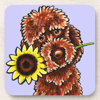 Sunny Chocolate Labradoodle Off-Leash Art™ Coaster