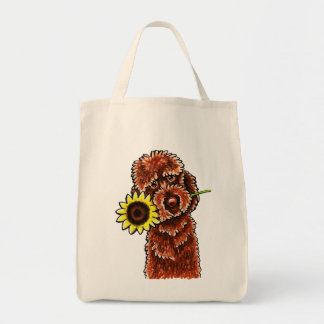Sunny Chocolate Labradoodle Off-Leash Art™ Grocery Tote Bag