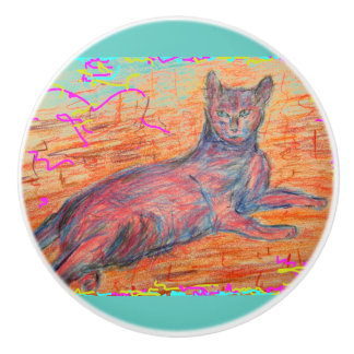 sunny cobblestone cat ceramic knob