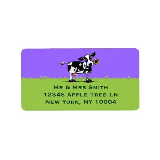 Sunny Cow Blue Sky Address Label