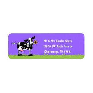 Sunny Cow White Type Return Address Label