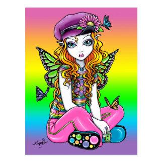 """""""Sunny"""" Cute Rainbow Butterfly Fairy Art Postcard"""