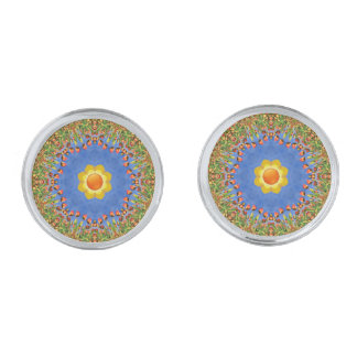 Sunny Day Colorful Cufflinks, 4 shapes Silver Finish Cufflinks