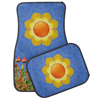 Sunny Day Colorful Vintage  Car Mats set of 4