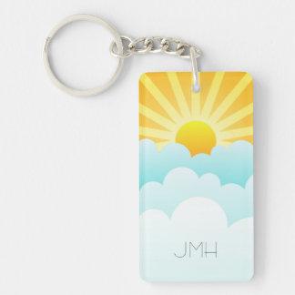 Sunny Day Fun Beach Sun Sky Clouds Custom Monogram Double-Sided Rectangular Acrylic Key Ring