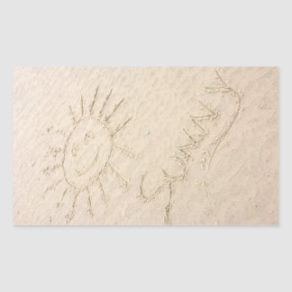 Sunny face in the sand. Smiley happy beach Rectangular Sticker