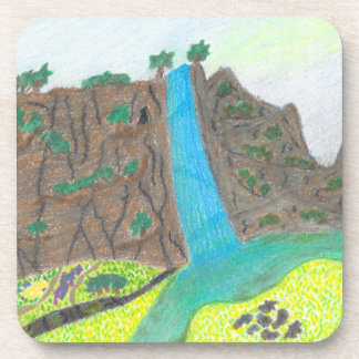 Sunny Falls Cliff and Meadow Hard Plastic Coasters