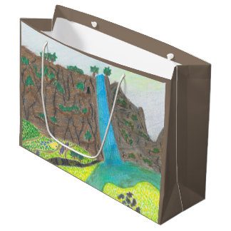 Sunny Falls Cliff and Meadow Scenic Large Gift Bag